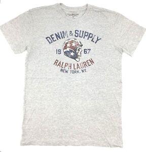 145-Ralph-Lauren-Men-Gray-Red-Blue-White-Skull-Face-Crew-Neck-T-Shirt-Tee-L