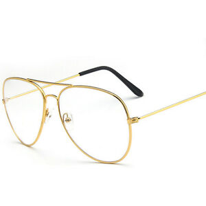 45c535a413 Image is loading Fashion-Clear-Lens-Aviator-Glasses-Classic-Pilot-Tear-