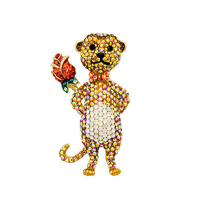 Jewelry & Watches Pins & Brooches Open-Minded Butler And Wilson Cristal Pequeño Suricata Con Una Rosa Broche Nuevo Careful Calculation And Strict Budgeting