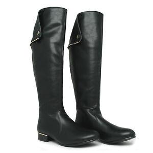 Italina Black Tall Knee High Fold Over 18 Shaft 16 Calf