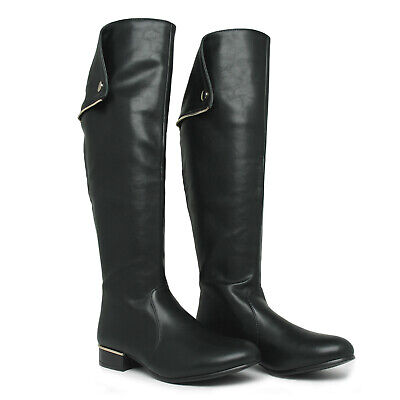 Italina Black Tall Knee High Fold Over 18 Shaft 16 Calf