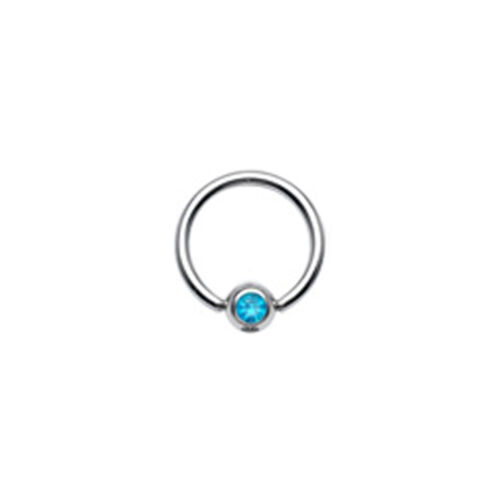 Gem Ball Captive Bead Closed Ring 316L Surgical Steel Lip Ear