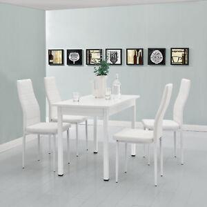 Dettagli su Tavolo da Pranzo con 4 Sedie Bianco 120x60cm Cucina Sala Tisch