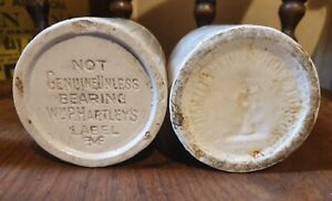 2 LARGE ANTIQUE STONEWARE W P HARTLEY LIVERPOOL AND LONDON MARMALADE / JAM POTS