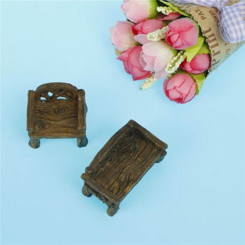 Miniaturen Miniatur Holz Stühle Harz Handwerk für Garten Inneneinrichtungen X