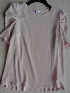 Next-Blush-Short-Sleeve-Jersey-Smart-Top-With-Stretchy-Back-Size-12-Excellent