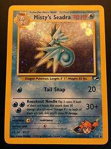 Carte-Pokemon-MISTY-039-S-SEADRA-9-132-Holo-Gym-Hereos-Wizard-NEUF