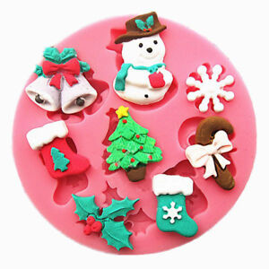 Christmas Xmas Tree Snowman Chocolate Cake Candy Baking Silicone Mold Decorating