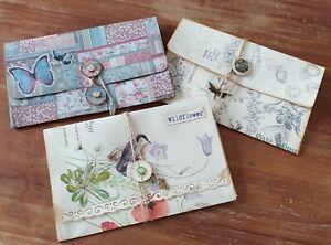 3 Handmade Journal Pocket/Wallet/Envelopes