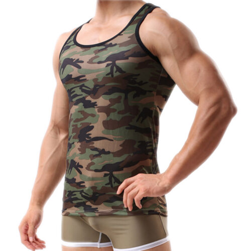 Men Army Green Camo Camouflage Muscle Gym T-shirt Tank Top Vest