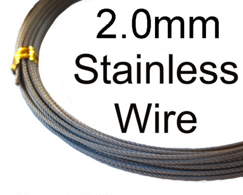 2.0mm 296kg 49 Strand Stainless Fishing Wire. 10m Length. 316 grade. Flexible