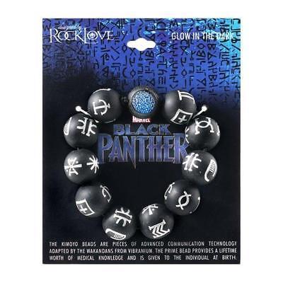 Marvel Comics Black Panther Glow in the Dark Bead Bracelet New MOC Kids Size