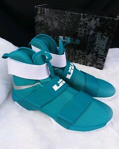 save off acb35 f9b72 Details about 16 MEN'S NIKE Lebron Zoom Soldier 10 X Teal 856489-332 WHITE  BLUE MULTICOLOR