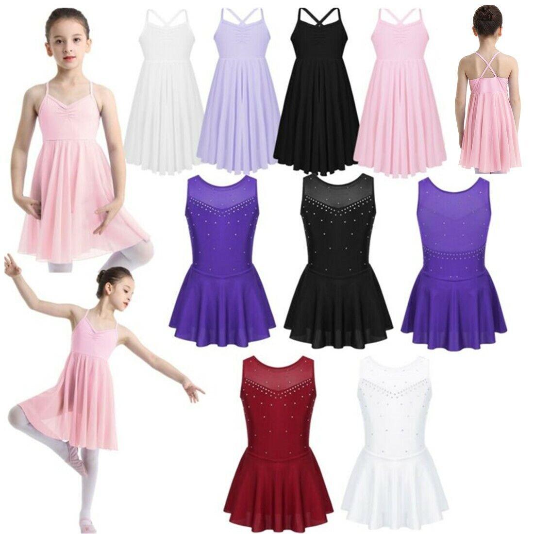 Kids Girl Ballet Dress Dance Leotard Tutu Skirt Chiffon Gymnastics Dancewear