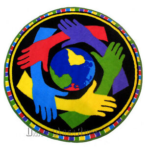 39 Quot X 39 Quot Round Rug Hands On Hands One World Peace 3x3 Ebay