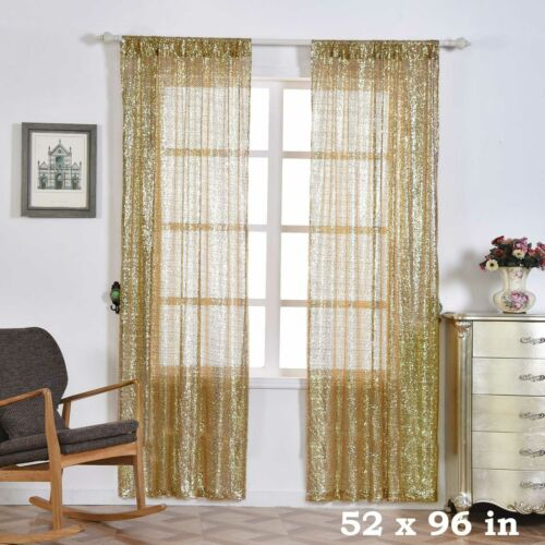 """2 pcs Champagne 52/"""" x 96/"""" Sequined Window CURTAINS Drapes Panels Backdrop Home"""