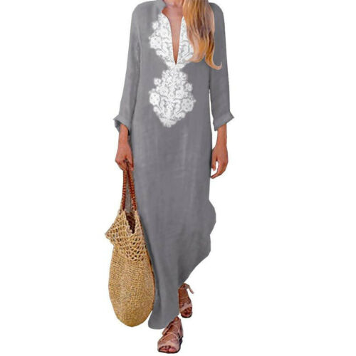UK Womens Casual Linen Kaftan Baggy Loose V-neck Split Long Maxi Dress Plus Size