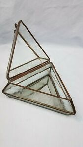 Vintage Etched Clear Beveled Leaded Glass Ormolu Jewelry Triangle Art Deco Box