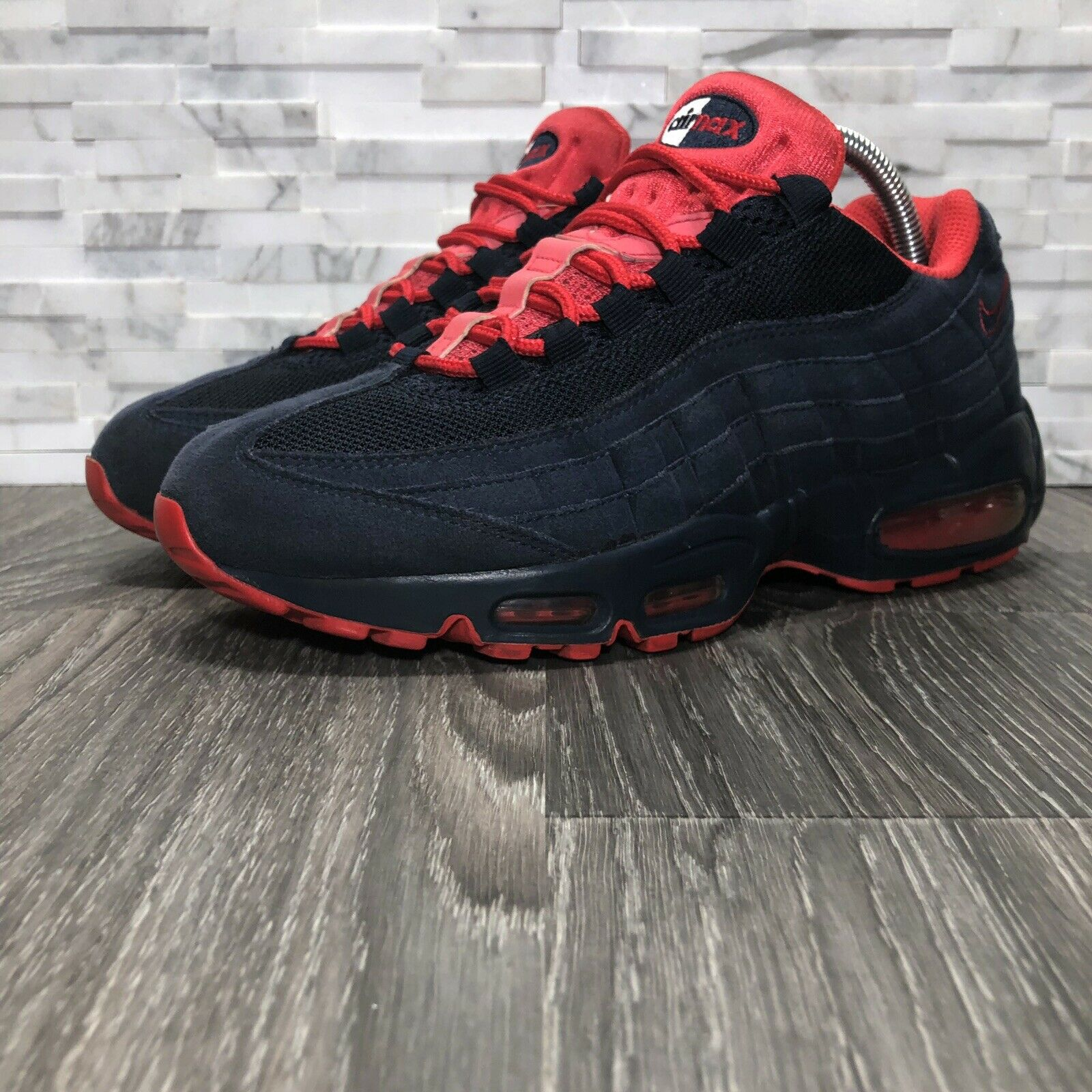 Nike Air Max 95 2011 Retro Obsidian bluee & Action Red Running shoes (609048-400)