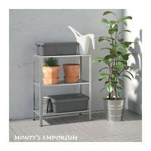 New Ikea 3 Tier Galvanized Steel Shelving Unit Hyllis Home