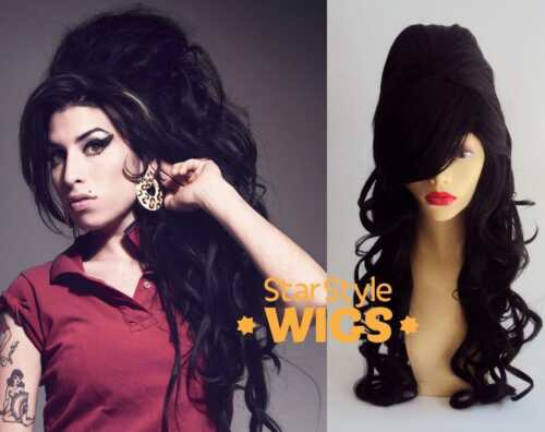 DELUXE AMY WINEHOUSE LONG BLACK CURLY BEEHIVE COSTUME WIG