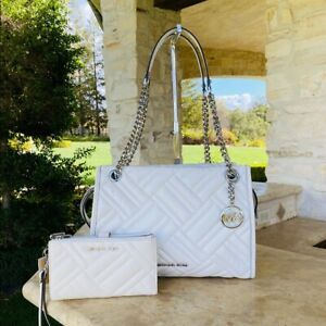 NWT-Michael-Kors-Quilted-Kathy-LG-Chain-Leather-Handbag-Double-Zip-Wallet-white