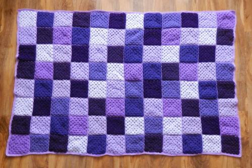 Handmade Crochet Blanket SINGLE Bedspread Acrylic Yarn VARIOUS COLOURS Boy//Girl