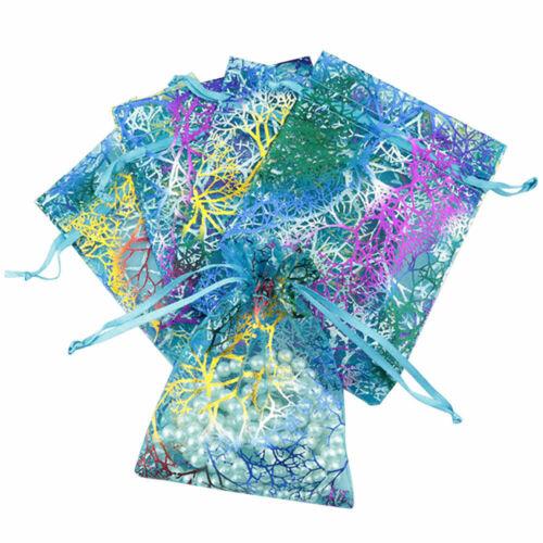 Coral Organza Gift Bags Jewelry Drawstring Bags Wedding Favors Mesh bag