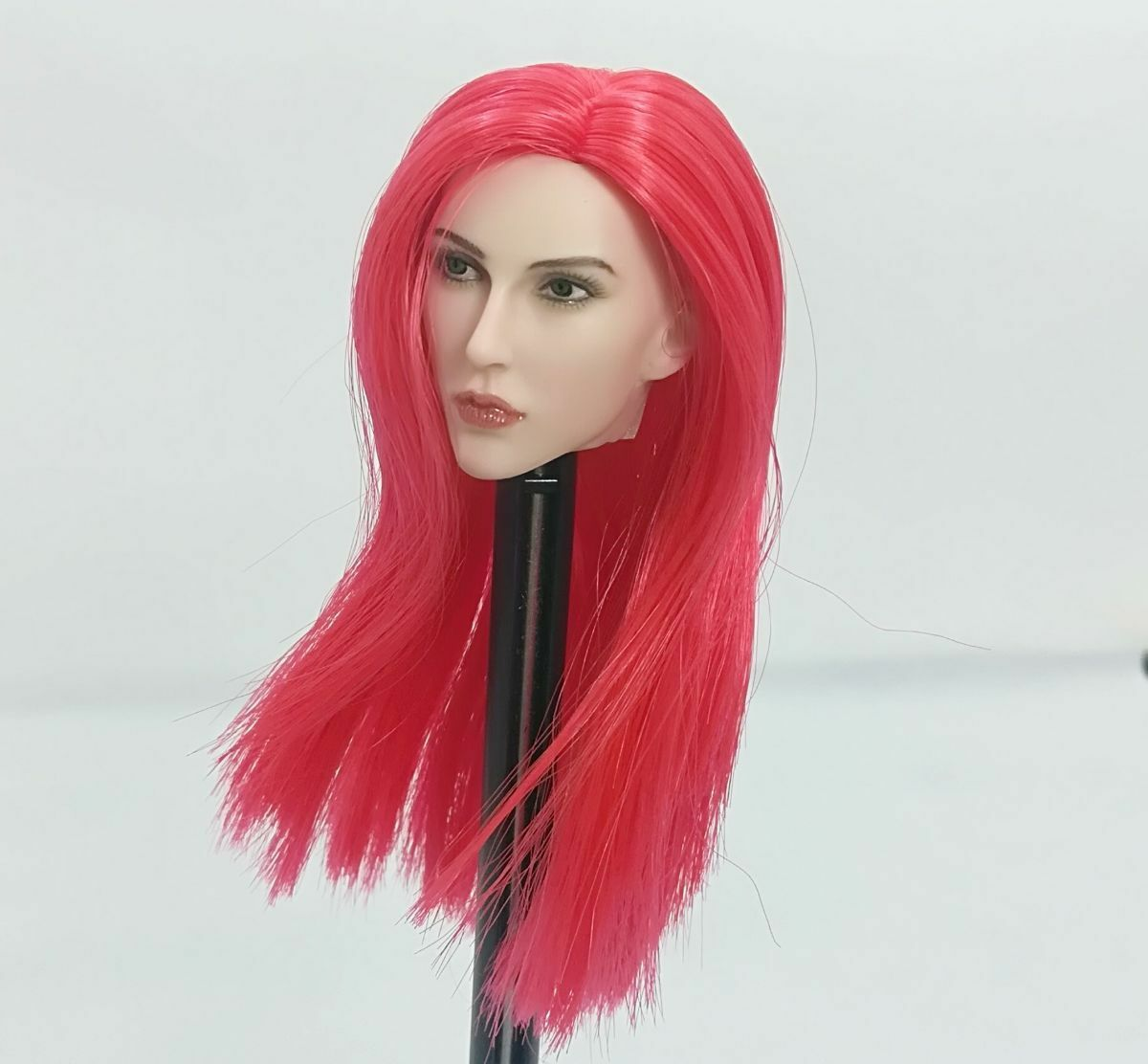 Custom Captain Sparta Head Carved 1 6 Red Hair PVC Girl Head Figure Accessories