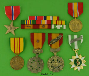 MARINE-CORPS-VIETNAM-6-MEDALS-MOUNTED-8-RIBBON-BAR-USMC