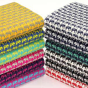 Cotton-Print-Fabric-by-FQ-Indian-Elephant-Retro-Dress-Quilting-LuckyFabrics-VK97