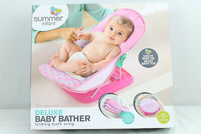 Pink Summer Infant Bath Deluxe Baby Bather Bubble Stripes