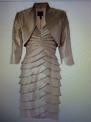 Adrianna Papell Madre Della Sposa Champagne Otturatore Pleat Dress Giacca A Strati Uk 8-