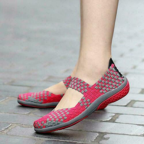 Bottines Femme À Enfiler Chaussures De Marche Tissé élastique Mary Jane Plat Léger escarpins taille