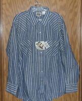 Ely Cattleman Western Shirt Poly/cotton Blue Stripe 2xl Ls
