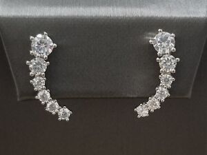 925-Sterling-Silver-Round-White-Diamond-Stones-Climber-Ear-Stud-Earrings