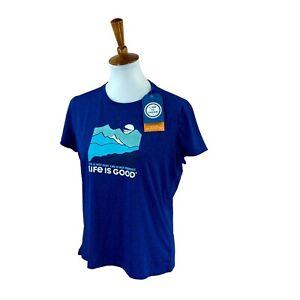 Life Is Good Women's Active Short Sleeve UPF 50+ Wicking NWT Blue T-Shirt Medium