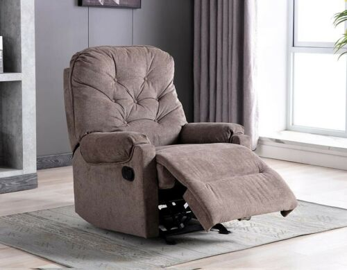 Manual Recliner Chair Fabric Armchair Sofa Padded Living Room Chaise Comfortable