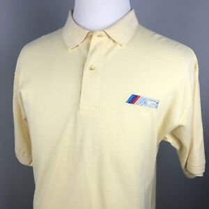 BMW-M3-Logo-Polo-Shirt-Mens-Medium-Yellow-Short-Sleeve-Cotton-Official-Authentic
