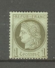 FRANCE-STAMP-TIMBRE-N-50-034-CERES-1c-VERT-OLIVE-1872-034-NEUF-xx-TB