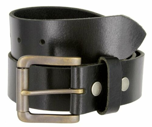 "Hagora Men 1.5/"" Wide Full Grain Genuine Buffalo Leather Roller Buckle Belt"