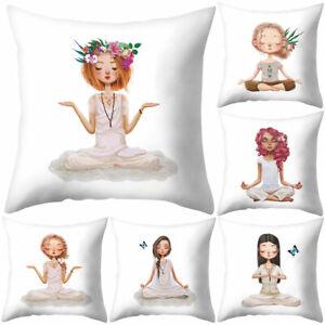 FJ-Cute-Meditation-Girl-Throw-Pillow-Protector-Case-Cushion-Cover-Bedding-Artic