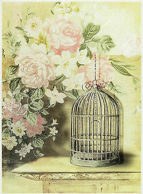 Craft Vintage Bird Cages Scrapbook Sheet Rice Paper for Decoupage