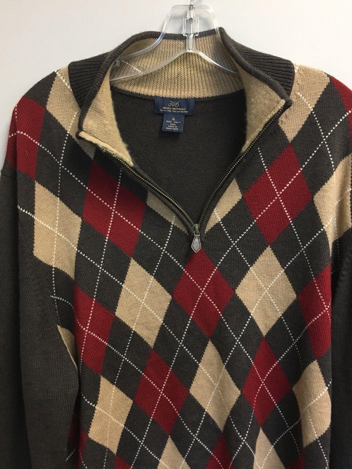 Brooks Bredhers 346 Brown Multi color Argyle Italian Merino Sweater Mid Zip Nice