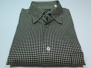 Ermenegildo-Zegna-Mens-Cotton-Black-Beige-Houndstooth-Italian-Casual-Shirt-Large