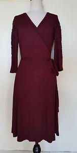 REVIEW-Plum-Burgundy-Stretch-Knit-Wrap-Dress-Size-10
