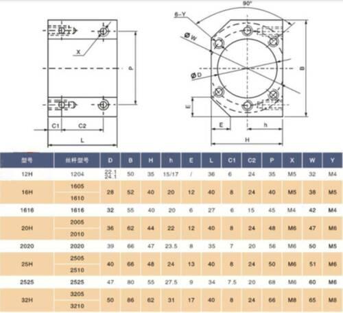 1PCS Ballscrew Nut Housing Bracket Holder Mount For 1616 2020 2525 3232 SFE