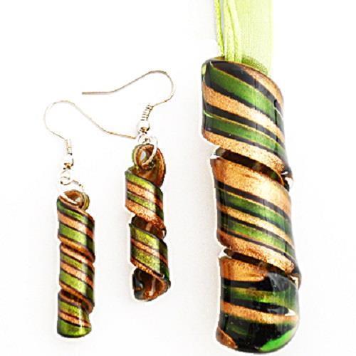 Green Gold Twist Handmade Lampwork Murano Verre Collier Pendentif Boucles d/'oreilles Set