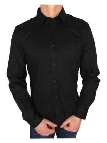 Antony Morato Mens L//S Gold Super Slim Fitted Shirt in Black
