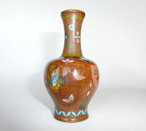 Antike Originale Vor 1945 Ausgefallene Kleine Bronze Vase Emaille Japan Meiji B-05856 Eine Hohe Bewunderung Gewinnen Antiquitäten & Kunst